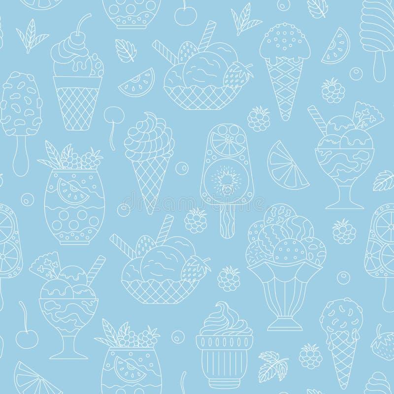 Seamless pattern of ice cream. stock illustration