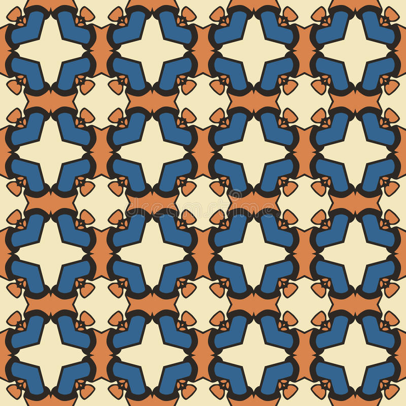 Seamless pattern. Seamless illustrated pattern made of abstract elements in beige, blue, orange and black vector illustration