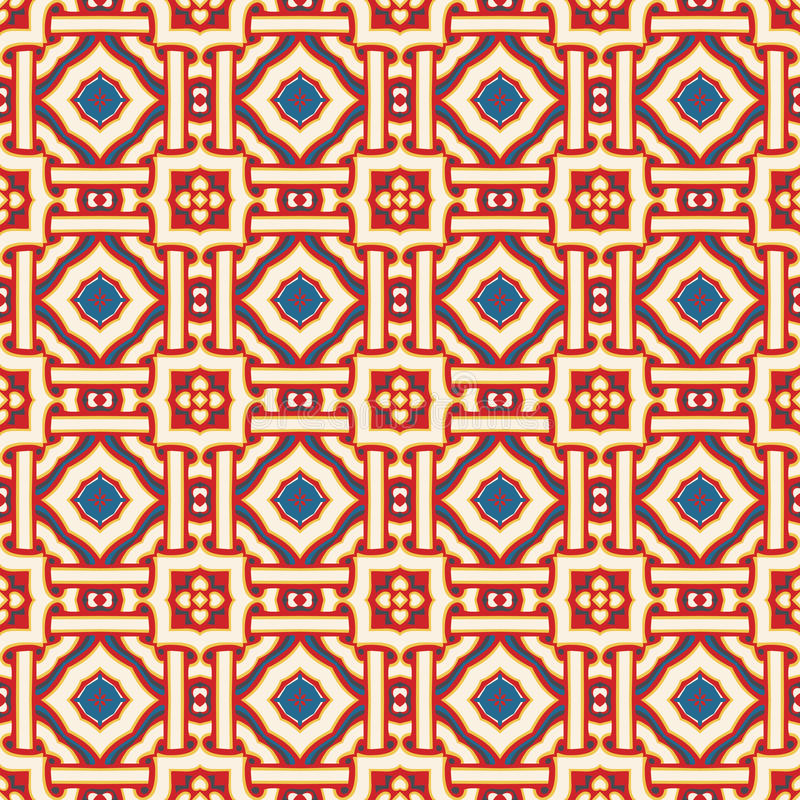 Seamless pattern. Seamless illustrated pattern made of abstract elements in beige, blue, yellow and red vector illustration
