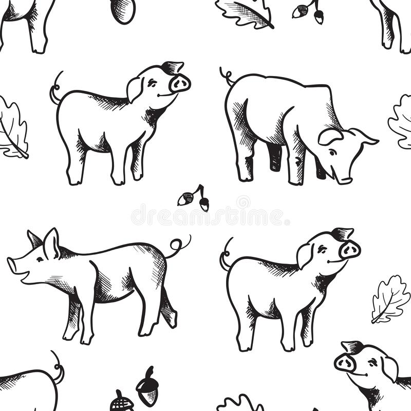 Seamless pattern illustration with hand drawn cute pigs black isolated on white royalty free illustration