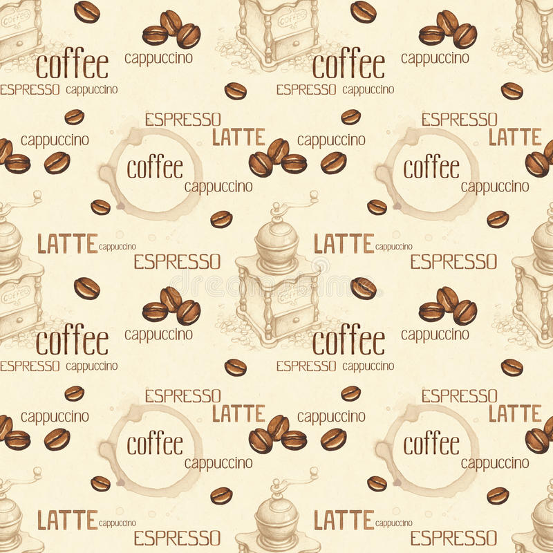 Seamless pattern with illustrations of coffee beans