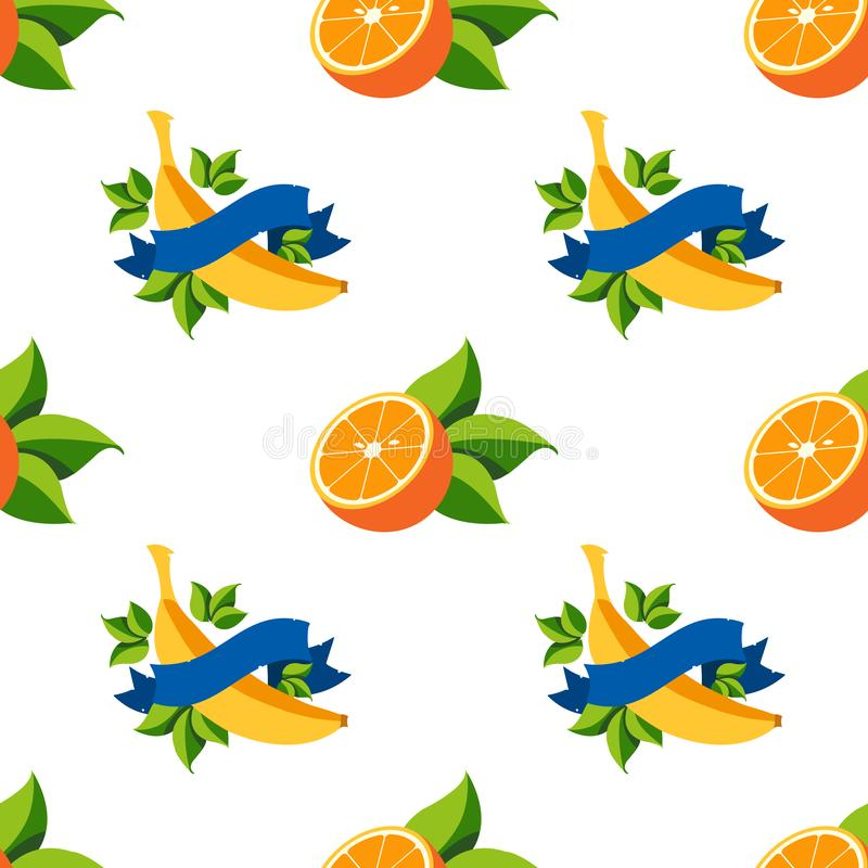 Seamless pattern with the image of bananas and oranges.  stock illustration