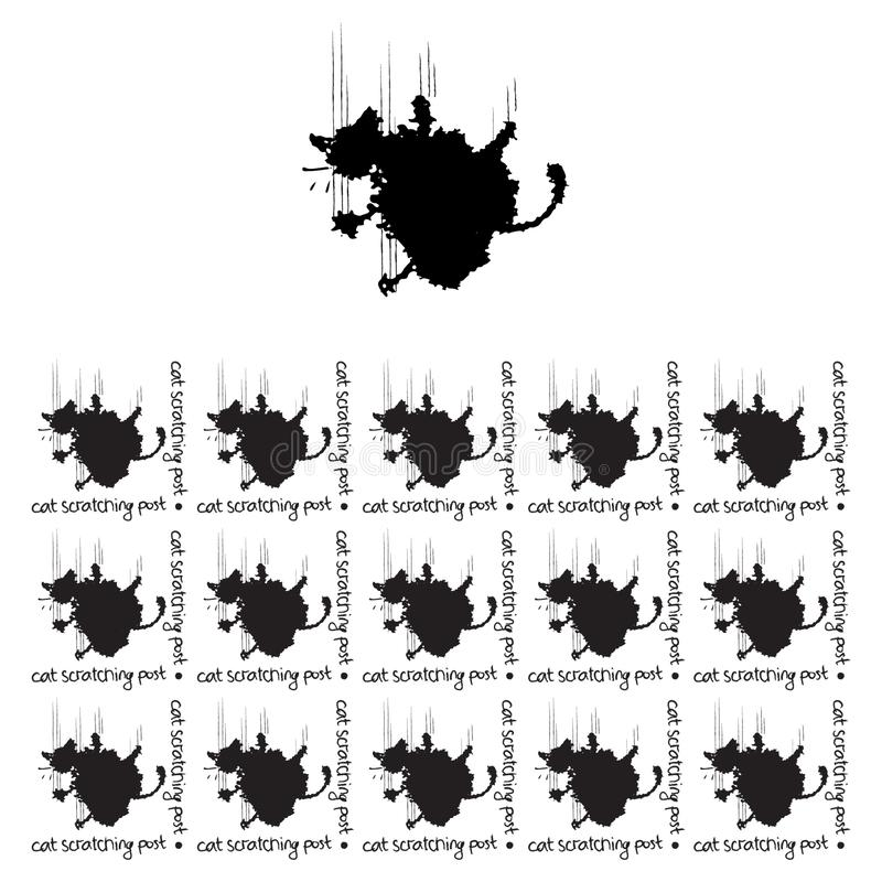 Seamless pattern with the image of a cat in the form of blots, for packaging design, website, social networks stock illustration