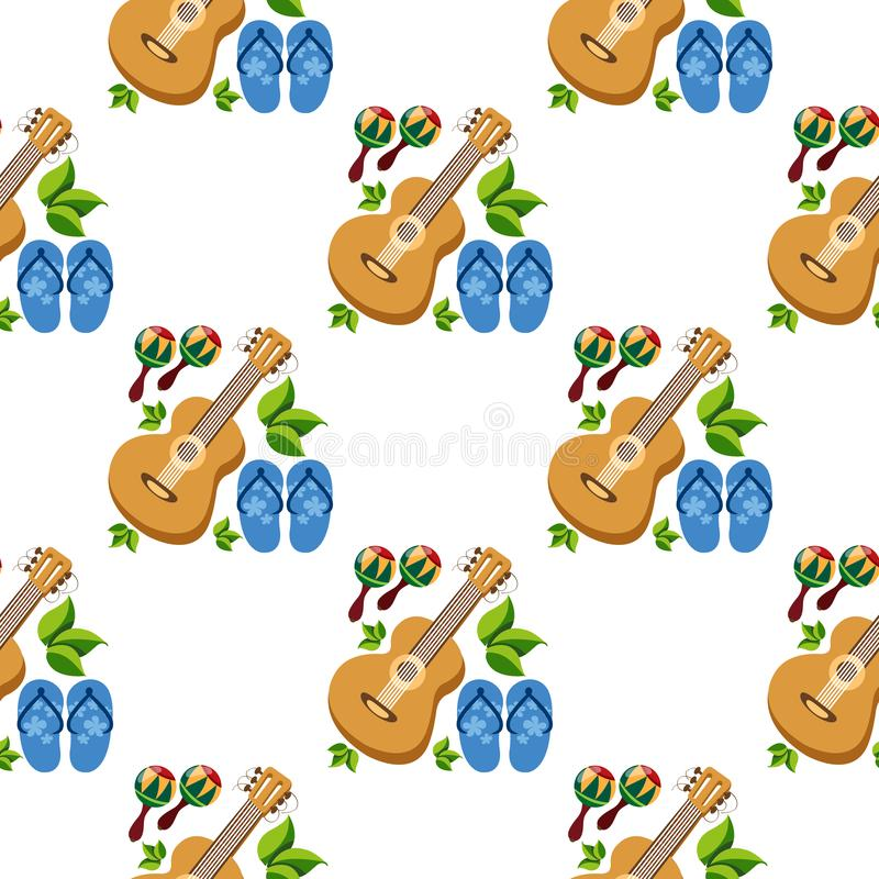 Seamless pattern with the image of guitars and slippers royalty free stock photo