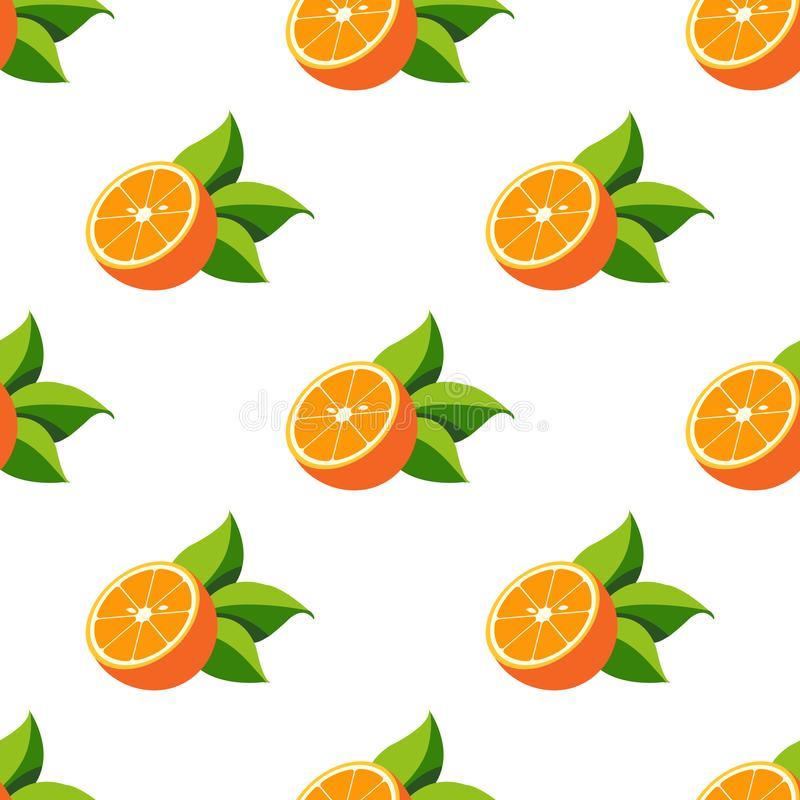 Seamless pattern with the image of oranges.  stock illustration