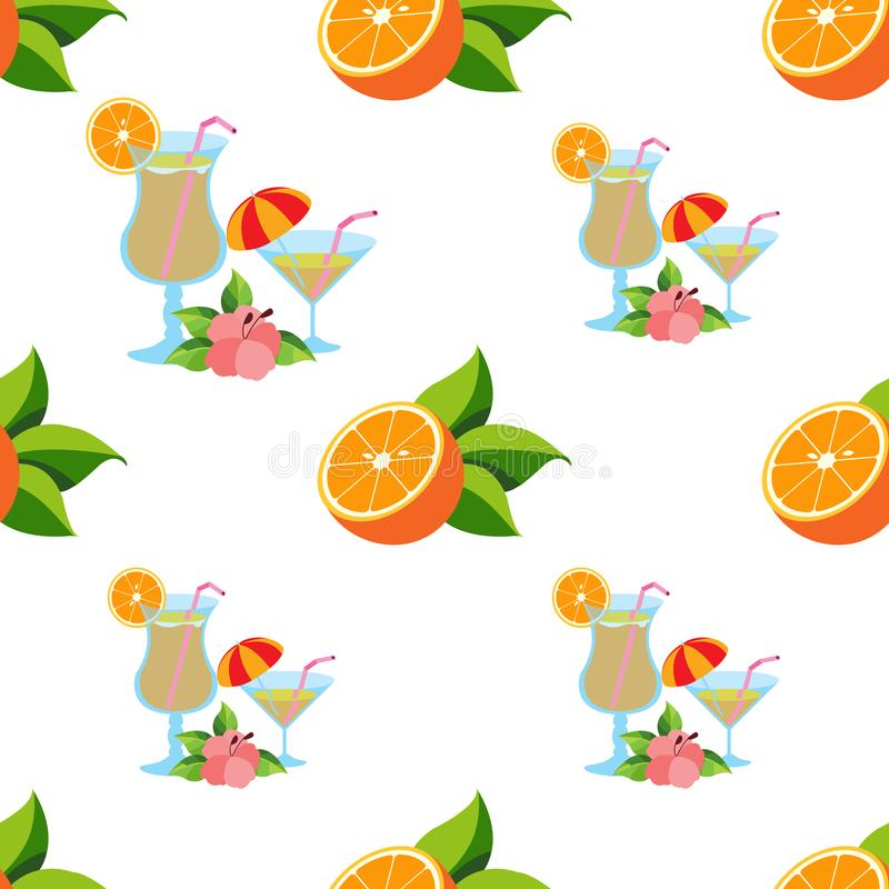 Seamless pattern with the image of oranges and cocktails.  royalty free illustration