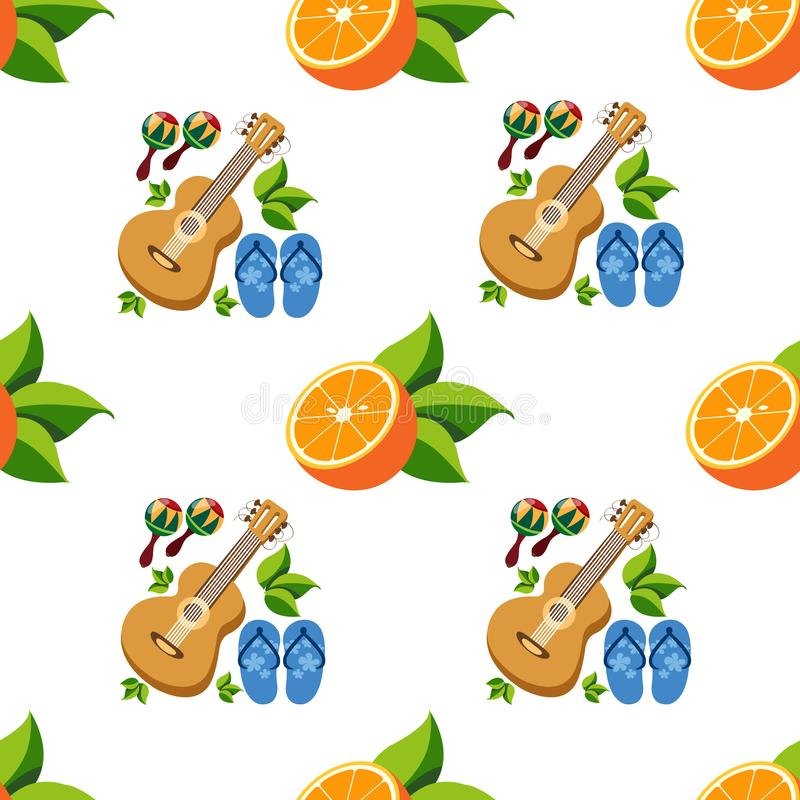 Seamless pattern with the image of oranges and guitars.  stock illustration