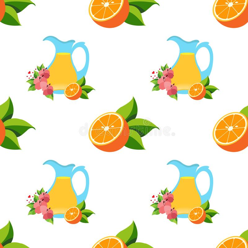Seamless pattern with the image of oranges and a jug with juice.  stock illustration