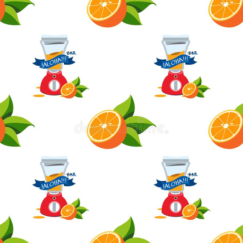 Seamless pattern with the image of oranges and juicer.  stock illustration