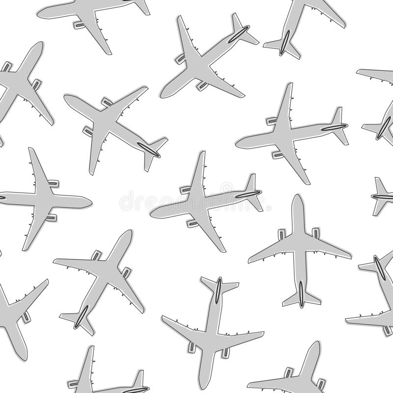 Seamless pattern with the image plane stock illustration