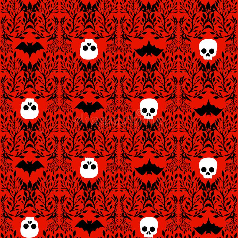Free Seamless Pattern In Victorian Gothic Style With Skull, Bat, Entwined In Plants, Isolated Blood-red Background. Halloween Stock Photography - 160137302