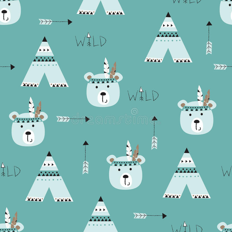 Seamless pattern with indian bears vector illustration