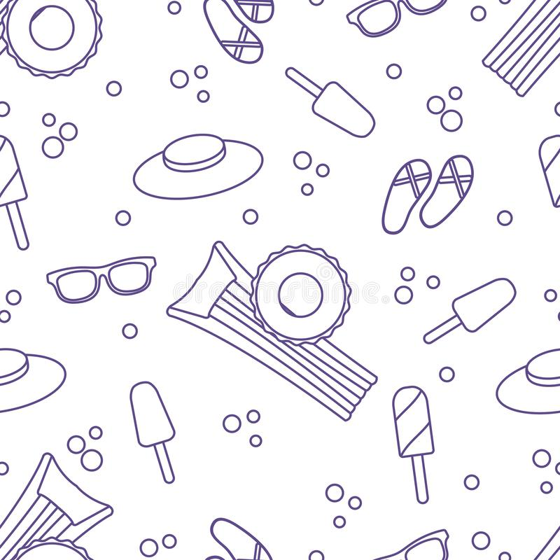 Seamless pattern with inflatable mattress, inflatable circle, ice cream, hat, glasses, beach slippers. Summer rest concept vector illustration