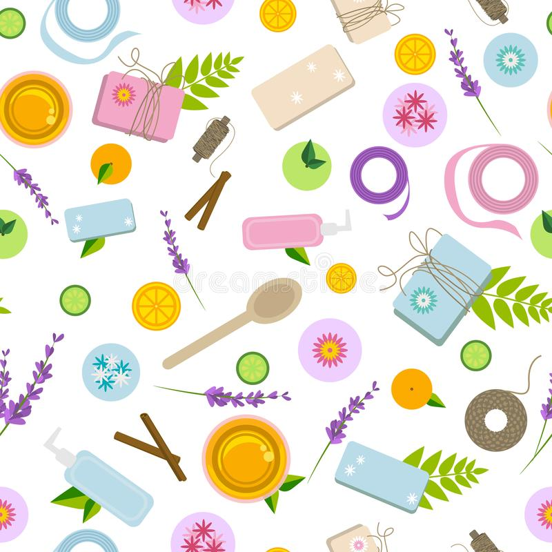 Seamless pattern with ingredients and tools for handmade natural cosmetics. Seamless pattern with ingredients and tools for soap, bath bombs and natural stock illustration