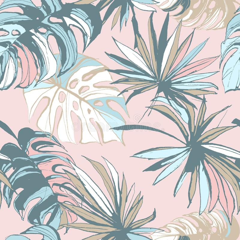 Seamless pattern of ink Hand drawn sketch Tropical palm leaves. Greeting card, invitation for summer beach party, flyer. Vector illustration. Grunge design royalty free illustration