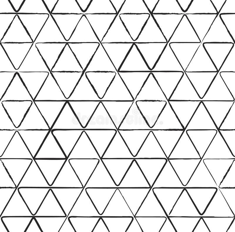 Seamless pattern with ink triangles drawing vector illustration