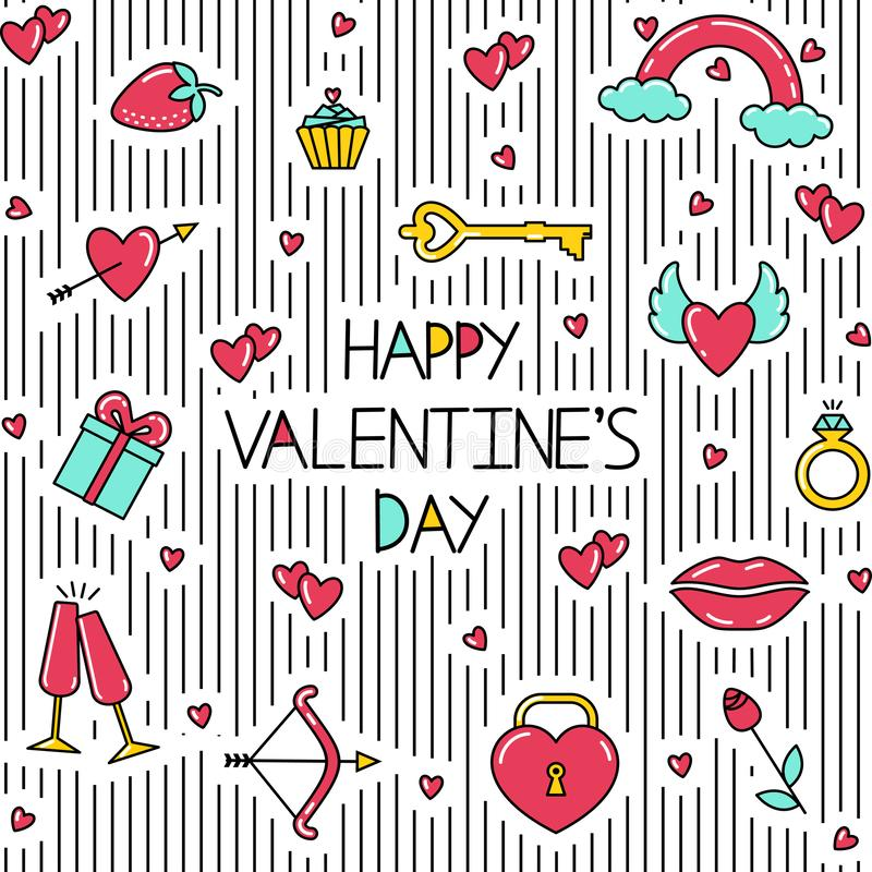 Seamless pattern with inscription, lines and bright symbols of Valentine`s day. stock illustration