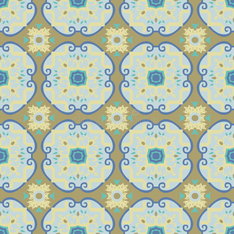 Seamless pattern inspired by Italian antique tiles vector illustration
