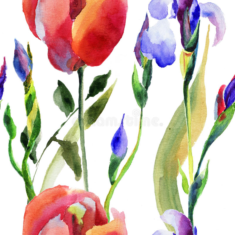 Download Seamless Pattern With Iris And Tulip Flower Stock Illustration - Illustration: 33934708