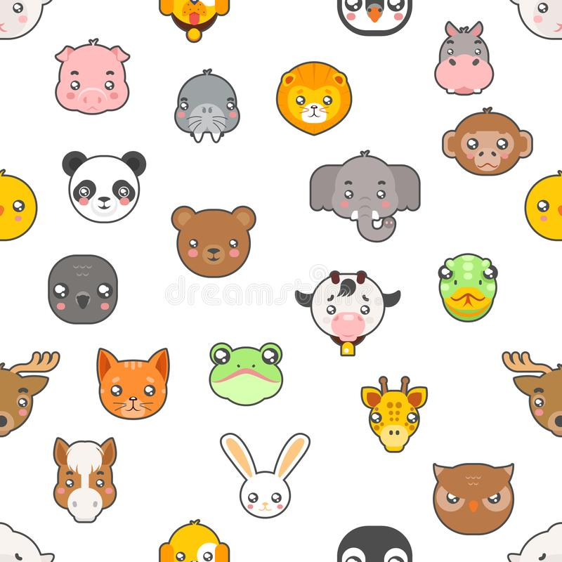 Seamless pattern Isolated animals cute baby cartoon cubs flat design head icons set character vector illustration stock illustration