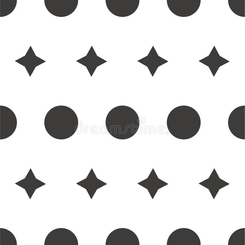 Seamless pattern: isolated gray circles and stars on a white background. polka dot. Vector. vector illustration