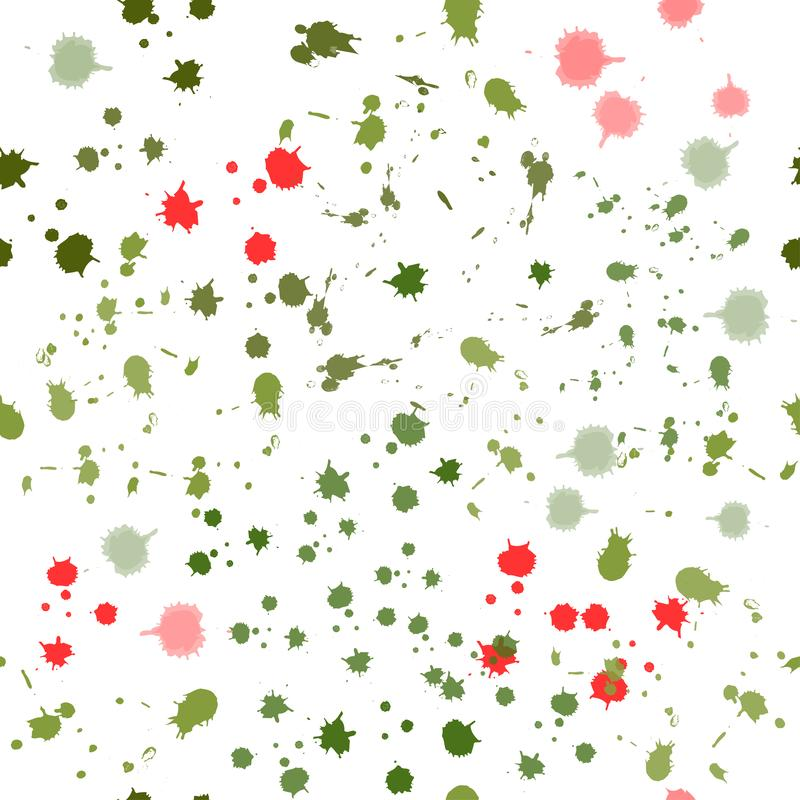 Seamless pattern: isolated green and red watercolor blots on a white background. vector. abstract spots. Seamless pattern: isolated green and red watercolor vector illustration