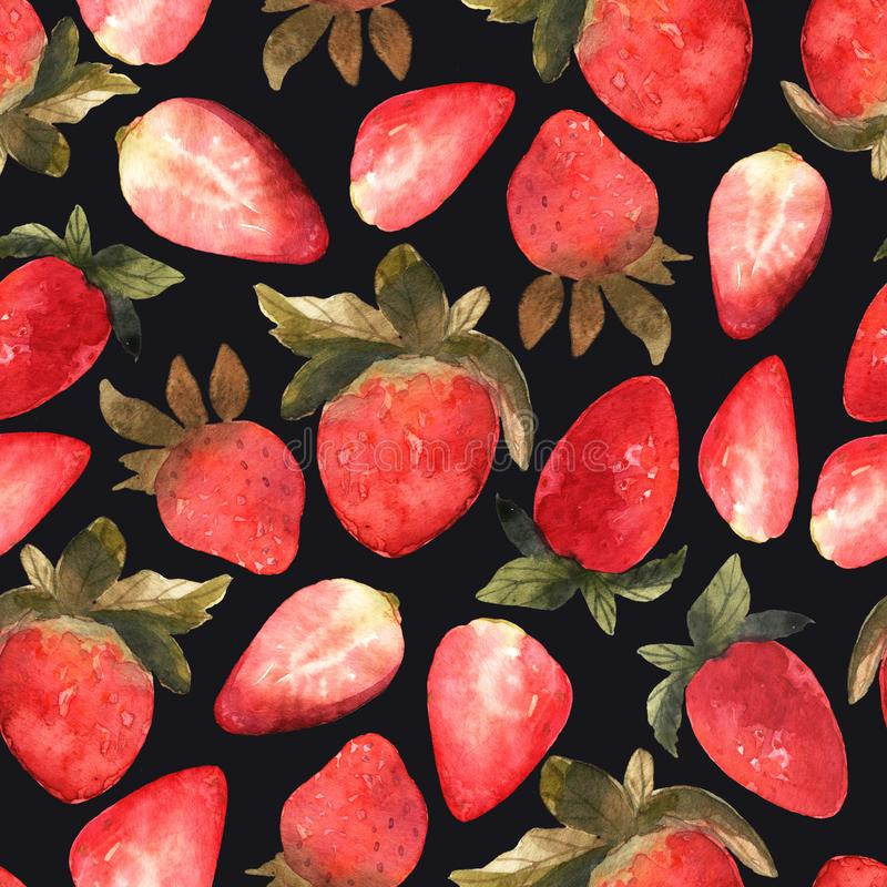 Seamless pattern with isolated hand drawn red strawberry on blac royalty free stock image