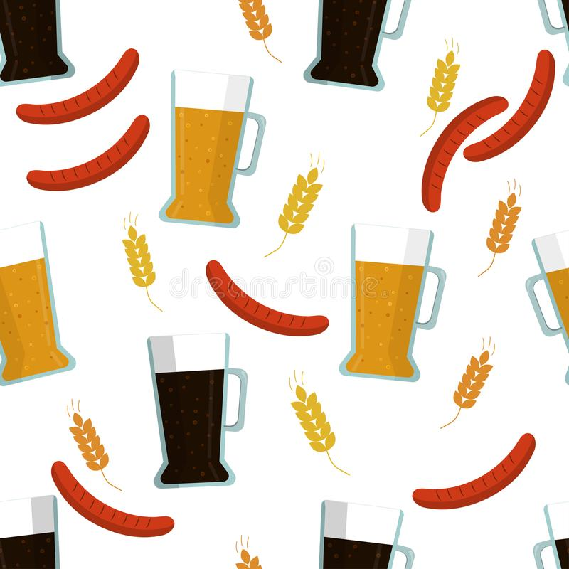 Seamless pattern: isolated light and close beer, rye and malt, barbecue on a white background. Flat vector. royalty free illustration