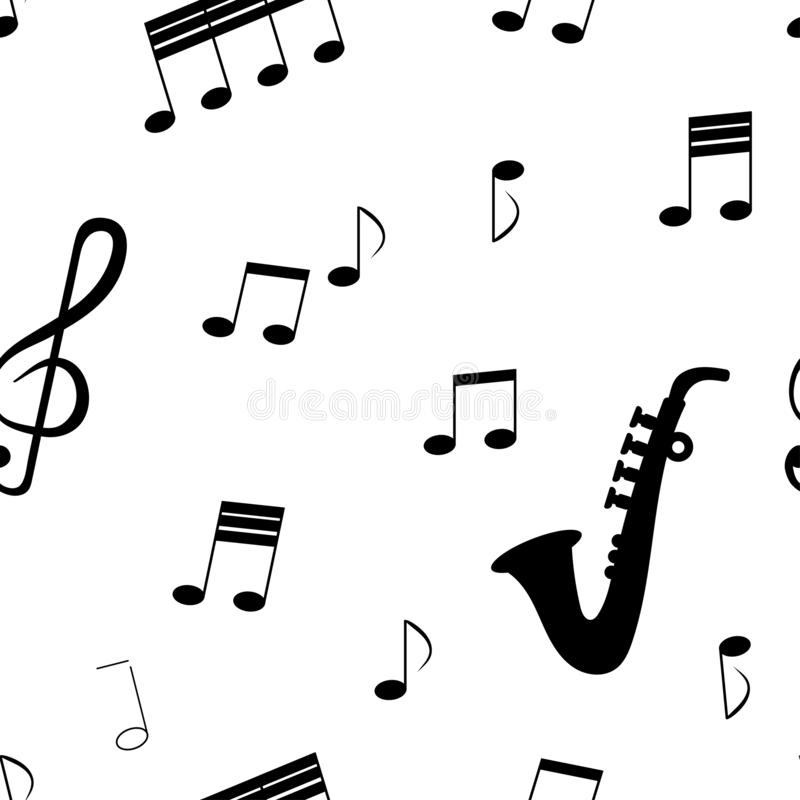 Seamless pattern: isolated musical signs and musical instrument saxafon in black on a white background. royalty free illustration