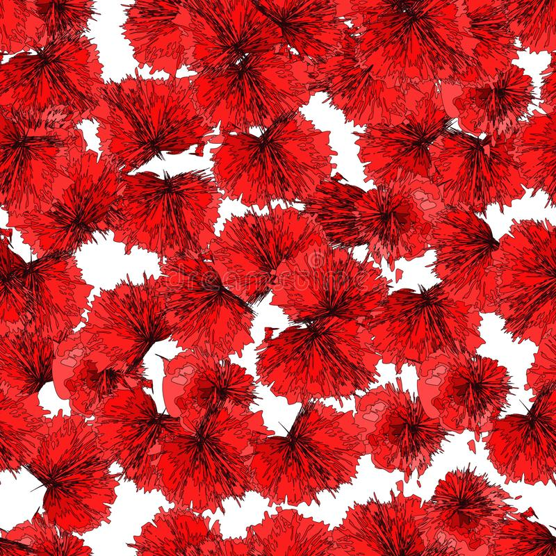 Seamless pattern: isolated poppy flower petals on white background. Vector. stock illustration