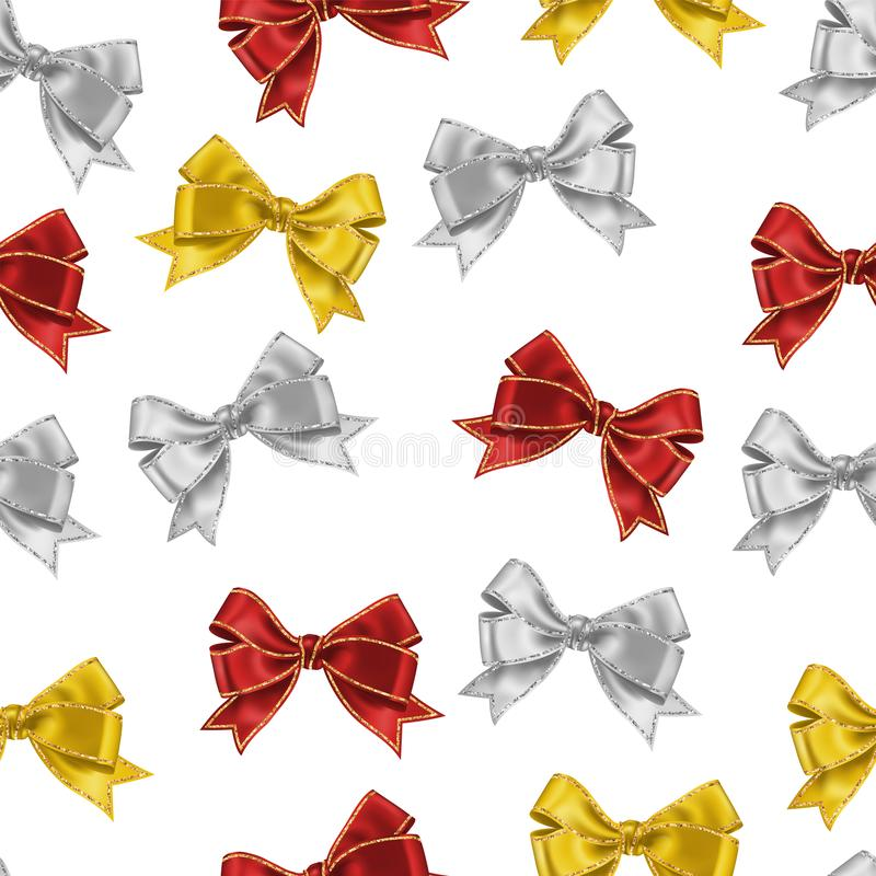 Seamless pattern isolated on white with realistic white, red and yellow silk ribbon bow with gold glitter shiny stripes, vector. Background for decoration vector illustration