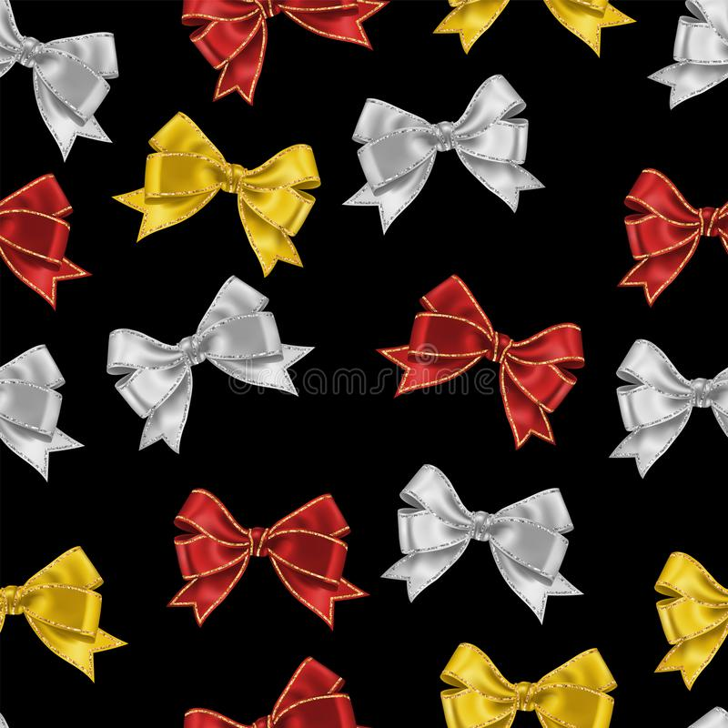 Seamless pattern isolated on white with realistic white, red and yellow silk ribbon bow with gold glitter shiny stripes, vector. Background for decoration royalty free illustration