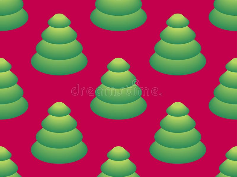 Seamless pattern with isometric Christmas trees. Fir tree with green gradient on red background. Vector vector illustration