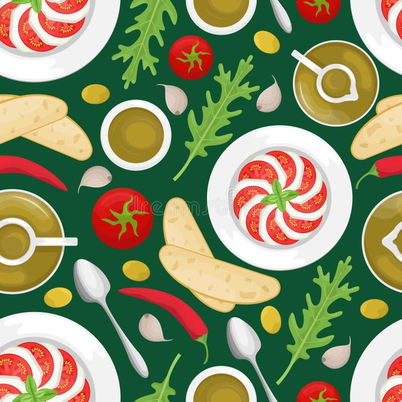 Seamless pattern with Italian cuisine. Tomato, olive oil, arugula, Caprese, mozzarella, ciabatta, chili. Flat lay royalty free illustration