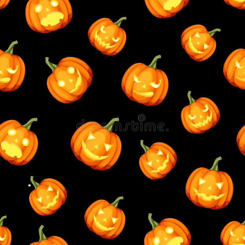 Seamless pattern with Jack-O-Lanterns Halloween pumpkins. Vector illustration. Vector seamless pattern with Jack-O-Lanterns Halloween pumpkins on a black vector illustration