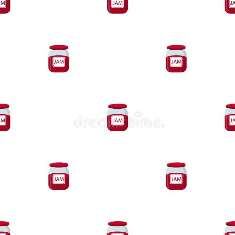 Seamless pattern with jam jar on white backgroud. Natural healthy food production. Vector illustration for design, web, wrapping. Seamless pattern with jam jar royalty free illustration