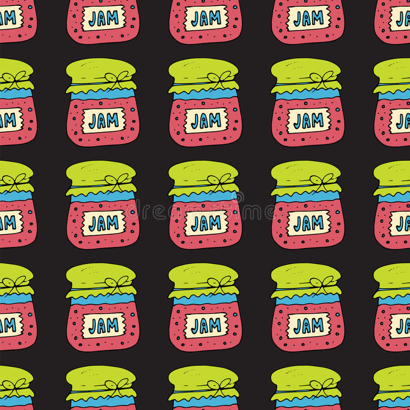 Seamless pattern with jam, marmalade. Vector illustration. Seamless pattern with jam, marmalade. Doodle vector illustration. Can be used for web page stock illustration