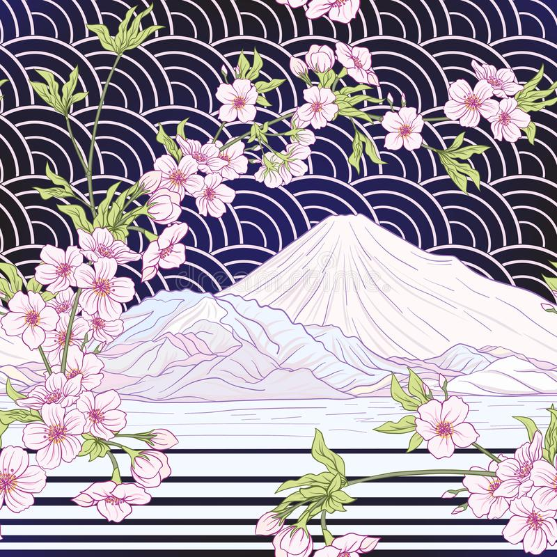 Seamless pattern with Japanese blossom sakura and Mount Fuji. Vector stock illustration royalty free illustration