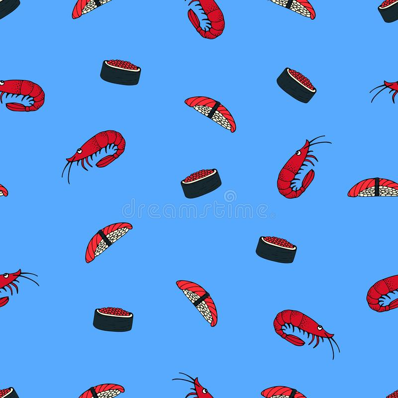 Seamless pattern with Japanese cuisine. Sushi and shrimps. royalty free illustration