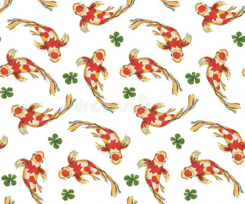 Seamless pattern japanese fish koi carps swimming in different directions around green algae. Isolated on white background for textiles, wallpaper, background royalty free illustration