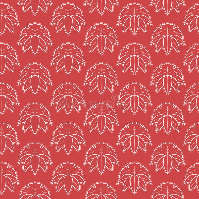 Seamless pattern in Japanese style. Japanese ornament of white flowers and leaves. stock illustration