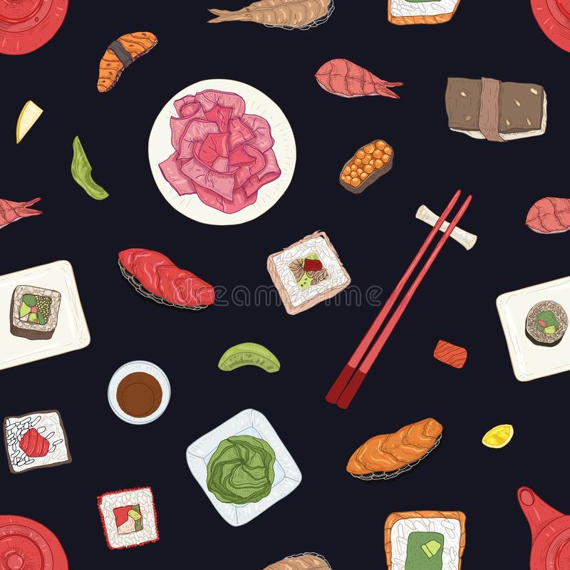 Seamless pattern with Japanese sushi, sashimi and rolls on black background. Backdrop with delicious traditional Asian. Food. Realistic hand drawn vector vector illustration