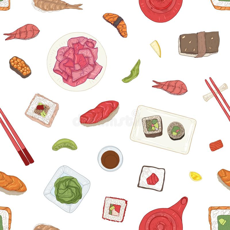 Seamless pattern with Japanese sushi, sashimi, rolls, wasabi, ginger, soy sauce on white background. Backdrop with. Traditional delicious Asian seafood meals vector illustration