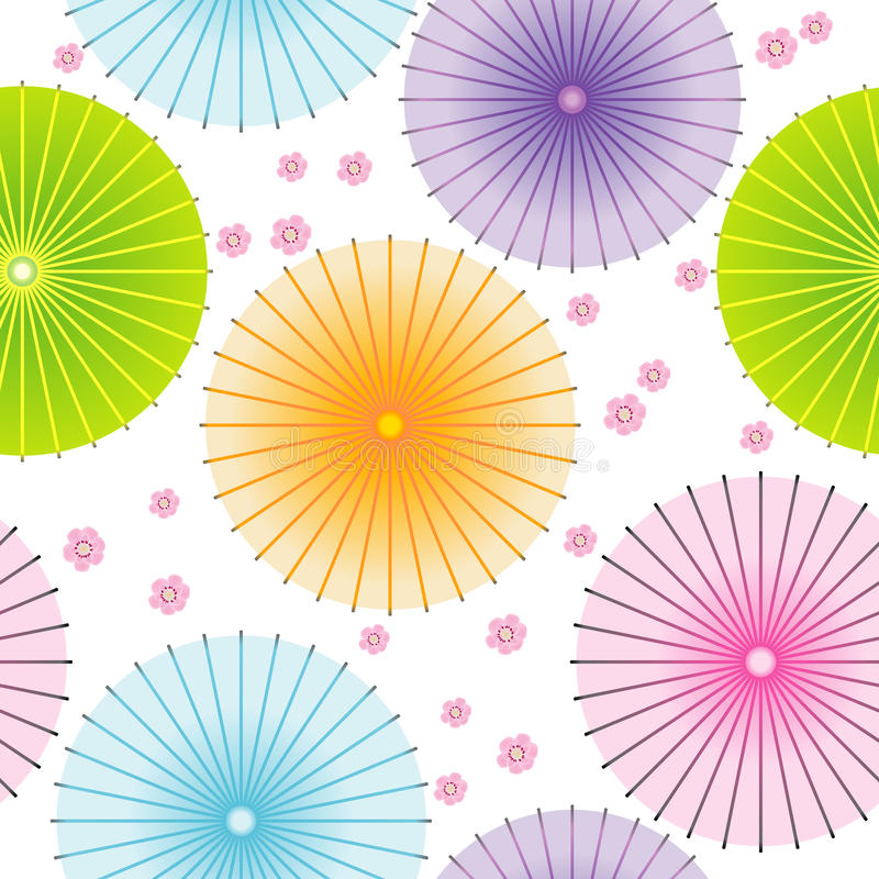 Seamless pattern with japanese umbrellas vector illustration