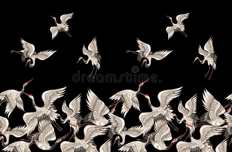 Seamless pattern with Japanese white cranes in different poses for your design embroidery, textiles, printing vector illustration