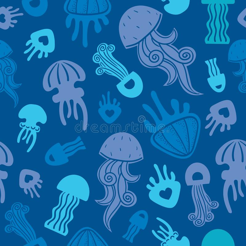 Seamless pattern with jellyfishes vector illustration