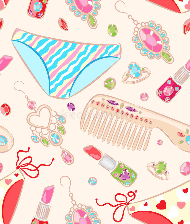 Seamless pattern with jewelry and objects stock illustration