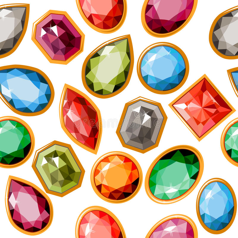 Seamless pattern with jewels stock illustration