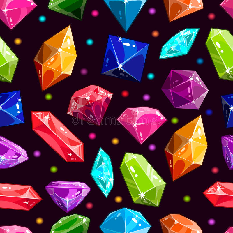 Seamless pattern with jewels and diamonds royalty free illustration