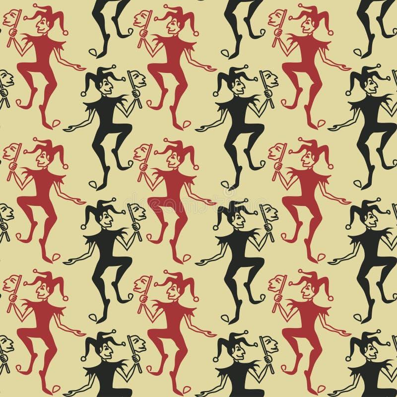 Seamless Pattern Of Jokers Royalty Free Stock Photo